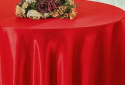 "108"" Round Satin Table Overlay - Red 55612 (1pc/pk)"