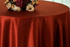 "108"" Round Satin Table Overlays - Rust 55647 (1pc/pk)"