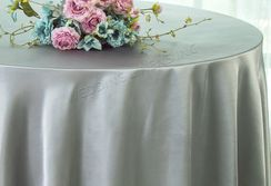 "108"" Round Satin Table Overlays - Silver 55640 (1pc/pk)"