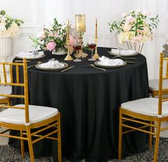 "108"" Seamless Round Scuba (Wrinkle-Free) Tablecloth - Black 20539 (1pc/pk)"
