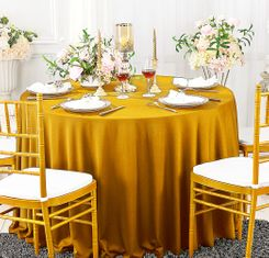 "108"" Seamless Round Scuba (Wrinkle-Free) Tablecloth - Gold 20527 (1pc/pk)"