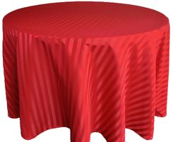 "108"" Striped Jacquard Polyester Tablecloths - Apple Red 86508 (1pc/pk)"