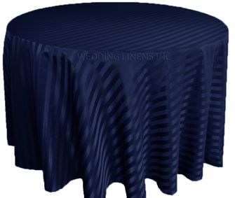 "108"" Striped Jacquard Polyester Tablecloths - Navy Blue 86523 (1pc/pk)"