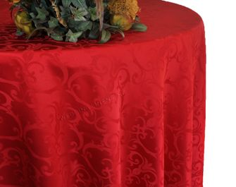 "108"" Round Versailles Damask Jacquard Tablecloth - Apple Red 92508(1pc/pk)"