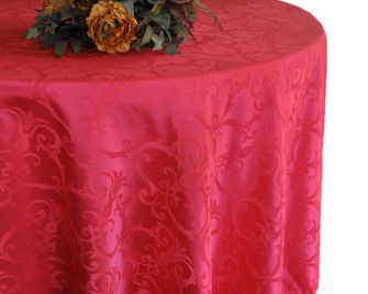 "108"" Round Versailles Damask Jacquard Tablecloth - Fuchsia 92509(1pc/pk)"