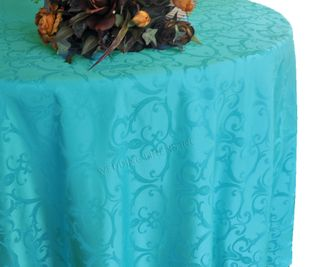 "108"" Round Versailles Damask Jacquard Tablecloth - Turquoise 92585(1pc/pk)"