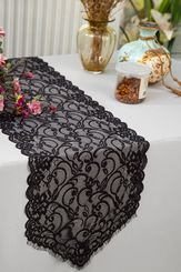 """12"""" x 108"""" Chantilly Lace Table Runner - Black 91539 (1pc/pk)"""
