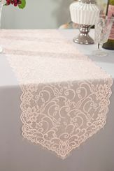 """12"""" x 108"""" Chantilly Lace Table Runner - Blush Pink 91515 (1pc/pk)"""