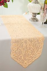 """12"""" x 108"""" Chantilly Lace Table Runner - Champagne 91528 (1pc/pk)"""