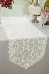 """12"""" x 108"""" Chantilly Lace Table Runner - Ivory 91502"""