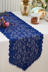 """12"""" x 108"""" Chantilly Lace Table Runner - Navy Blue 91523 (1pc/pk)"""