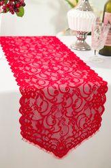 """12"""" x 108"""" Chantilly Lace Table Runner - Red 91512 (1pc/pk)"""