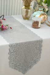 """12"""" x 108"""" Chantilly Lace Table Runner - Silver 91540 (1pc/pk)"""