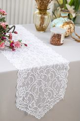 """12"""" x 108"""" Chantilly Lace Table Runner - White 91501 (1pc/pk)"""