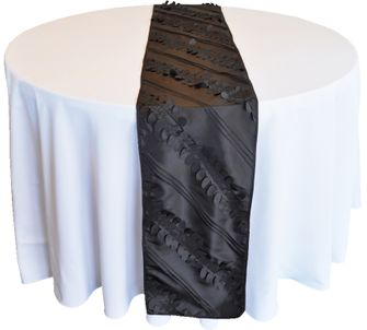 "12""x 108"" Forest Taffeta Table Runner - Black 67239 (1pc/pk)"