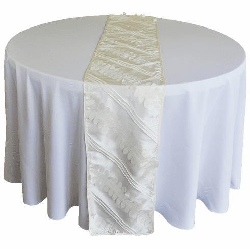 "12""x 108"" Forest Taffeta Table Runner - Ivory 67202(1pc/pk)"