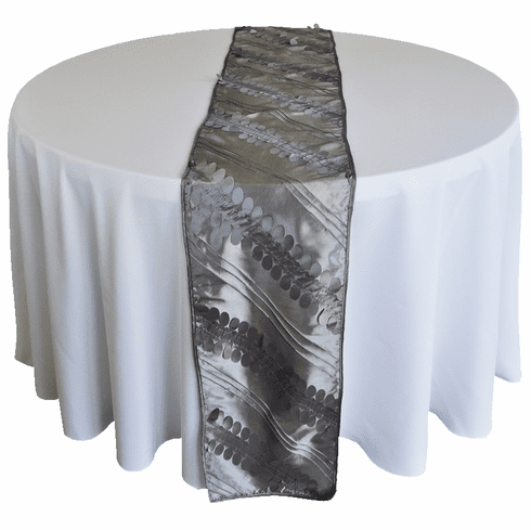 "12""x 108"" Forest Taffeta Table Runner - Silver 67240(1pc/pk)"