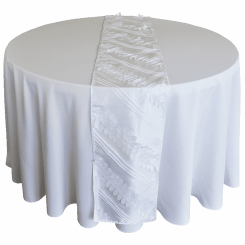 "12""x 108"" Forest Taffeta Table Runner - White 67201(1pc/pk)"