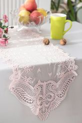 """12"""" x 108"""" Jasmine Raschel Lace Embroidered Table Runner - Blush Pink 91215 (1pc/pk)"""