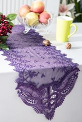 """12"""" x 108"""" Jasmine Raschel Lace Embroidered Table Runner - Eggplant 91245 (1pc/pk)"""