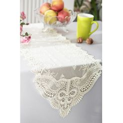 """12"""" x 108"""" Jasmine Raschel Lace Embroidered Table Runner - Ivory 91202 (1pc/pk)"""