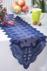 """12"""" x 108"""" Jasmine Raschel Lace Embroidered Table Runner - Navy Blue 91223 (1pc/pk)"""