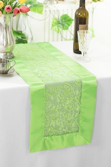 "12""x108"" Embroidered Organza Table Runner - Apple Green 90237 (1pc)"