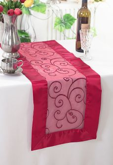 "12.75""x108"" Embroidered Organza Table Runner - Apple Red 90208(1pc)"