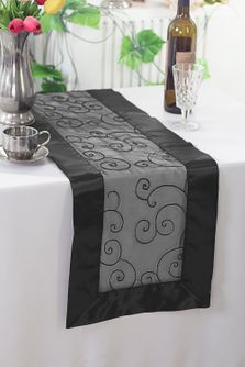 "12.75""x108"" Embroidered Organza Table Runner - Black 90239(1pc)"