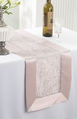 "12.75""x108"" Embroidered Organza Table Runner- Blush Pink 90215 (1pc)"