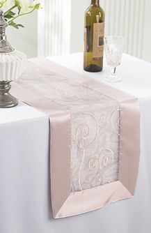 "12""x108"" Embroidered Organza Table Runner- Blush Pink 90215 (1pc)"