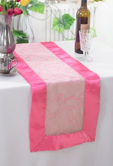"""12.75""""x108"""" Embroidered Organza Table Runner - Bubble Gum 90235(1pc)"""