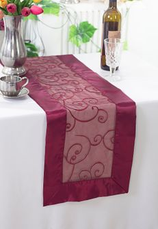 "12""x108"" Embroidered Organza Table Runner - Burgundy 90210 (1pc)"