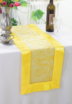 """12""""x108"""" Embroidered Organza Table Runner - Canary Yellow 90216(1pc)"""