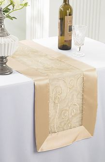 """12""""x108"""" Embroidered Organza Table Runner - Champagne 90228(1pc)"""