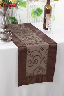 "12""x108"" Embroidered Organza Table Runner - Chocolate 90291(1pc)"