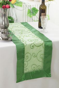 "12.75""x108"" Embroidered Organza Table Runner - Clover Green 90248(1pc)"