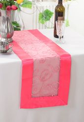 "12.75""x108"" Embroidered Organza Table Runner - Coral 90206 (1pc)"