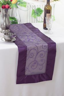 "12""x108"" Embroidered Organza Table Runner - Eggplant 90245(1pc)"
