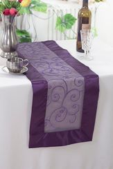 "12.75""x108"" Embroidered Organza Table Runner - Eggplant 90245(1pc)"