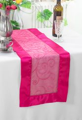"12.75""x108"" Embroidered Organza Table Runner - Fuchsia 90209 (1pc)"