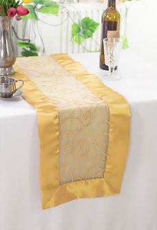 """12""""x108"""" Embroidered Organza Table Runner - Gold 90227(1pc)"""