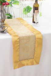 "12.75""x108"" Embroidered Organza Table Runner - Gold 90227(1pc)"