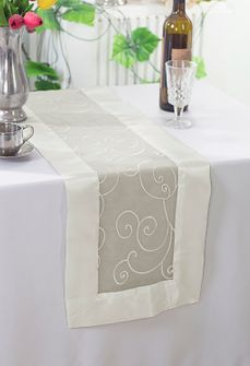"12""x108"" Embroidered Organza Table Runner - Ivory 90202(1pc)"
