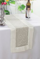 "12.75""x108"" Embroidered Organza Table Runner - Ivory 90202(1pc)"