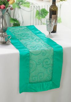 "12""x108"" Embroidered Organza Table Runner - Jade 90226 (1pc)"