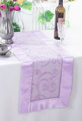 "12.75""x108"" Embroidered Organza Table Runner - Lavender 90211 (1pc)"