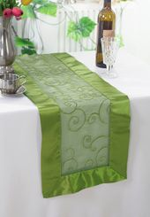 "12.75""x108"" Embroidered Organza Table Runner - Moss Green 90217 (1pc)"
