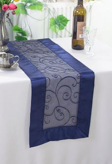 "12""x108"" Embroidered Organza Table Runner - Navy Blue 90223 (1pc)"