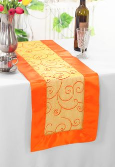 "12""x108"" Embroidered Organza Table Runner - Orange 90233 (1pc)"